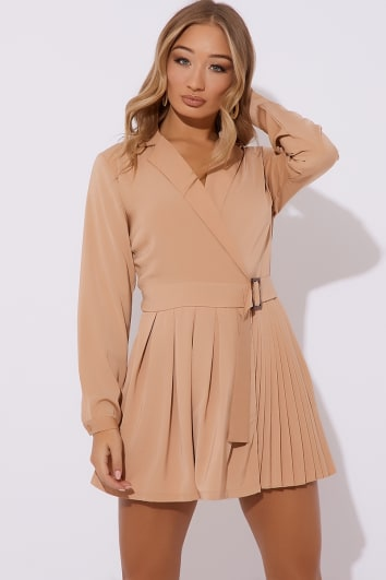 AYLEIN CAMEL BELTED PLUNGE TUX PLEATED PLAYSUIT