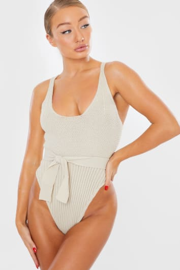 KYLIE STONE KNITTED BELTED BODYSUIT