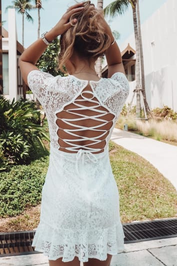 DANI DYER WHITE LACE UP BACK LACE DRESS