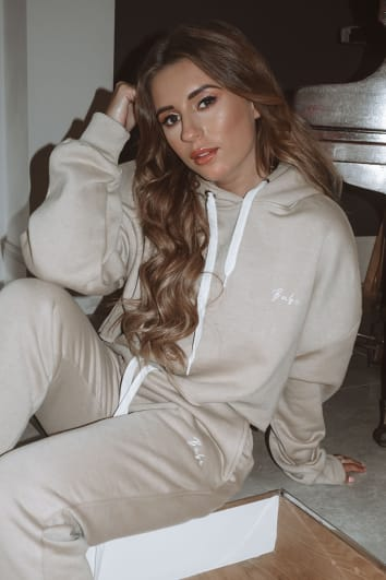 DANI DYER BABE STONE EMBROIDERED CROPPED HOODIE