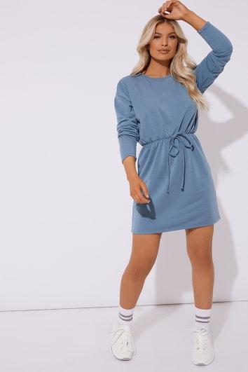 DEANIE BLUE DRAWSTRING WAIST SWEATER DRESS