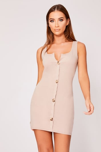 ELEVARA STONE SCOOP NECK TORTOISESHELL BUTTON DRESS