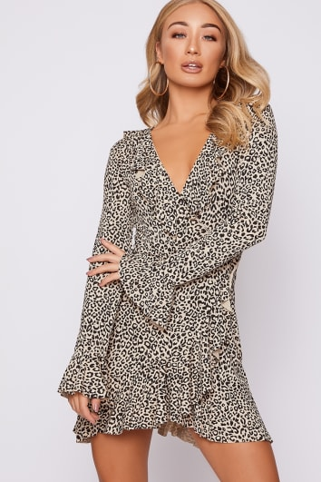 BELAH STONE LEOPARD PRINT FRILL WRAP DRESS