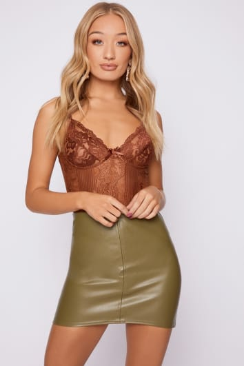 JASLENE KHAKI FAUX LEATHER MINI SKIRT