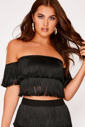 Yusan BLACK TASSEL BARDOT CROP TOP