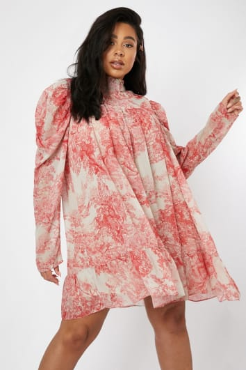 CURVE LORNA LUXE 'CORA PEARL IMPOSSIBLY PERFECT' PINK HIGH NECK SWING DRESS