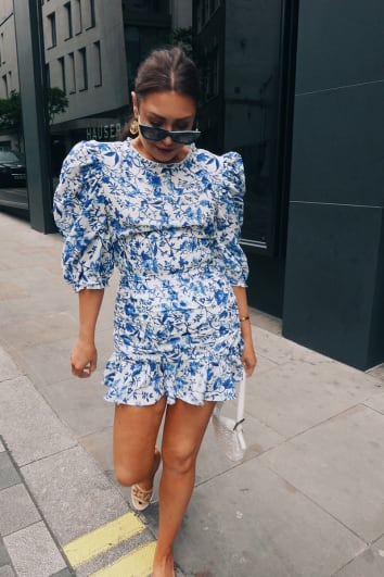 LORNA LUXE 'PRACTICALLY PERFECT' PORCELAIN BLUE FRILL MINI SKIRT