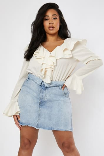 CURVE LORNA LUXE 'AMOUR' BLUE BLEACHED DENIM FOLD OVER WAIST A-LINE SKIRT