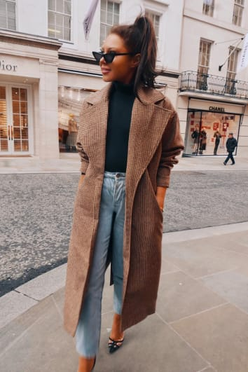 LORNA LUXE 'BORROWED HIS' CHECK TAILORED BROWN COAT