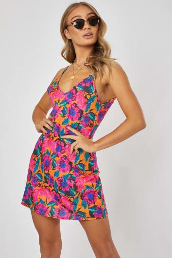 RINA ORANGE FLORAL JERSEY PLUNGE BACK MINI DRESS