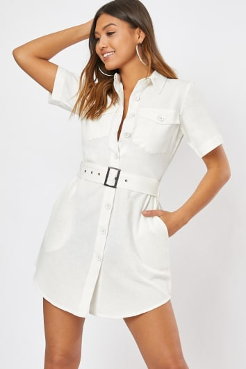 RINILA CREAM BUTTON DETAIL BELTED MINI DRESS