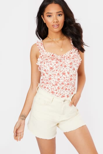 LUNKA RED FLORAL PRINT FRILL NECK CAMI BODYSUIT
