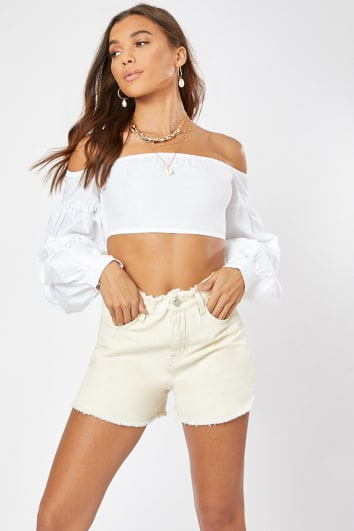 IYONA WHITE EXTREME PUFF DETAIL SLEEVE CROP TOP