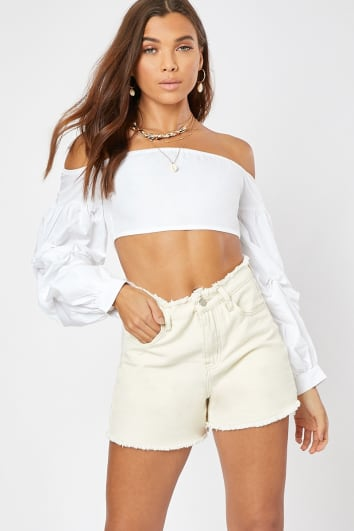 LONRA ECRU FRAYED DETAIL WAIST DENIM SHORTS