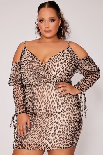 e866b1f3c CURVE OVIYA BROWN LEOPARD PRINT COLD SHOULDER MINI DRESS