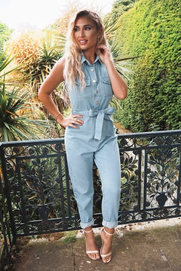 116f025bf5c BILLIE FAIERS BLUE DENIM SLEEVELESS JUMPSUIT