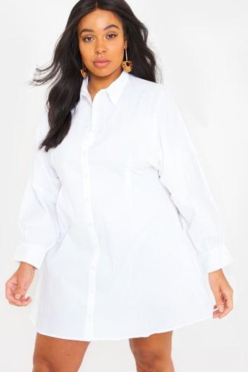 baab1679093e CURVE FASHION INFLUX WHITE BATWING BUTTON THROUGH SHIRT DRESS