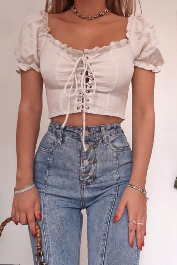 127cc66c97f FASHION INFLUX CREAM LACE UP PUFF SLEEVE TOP