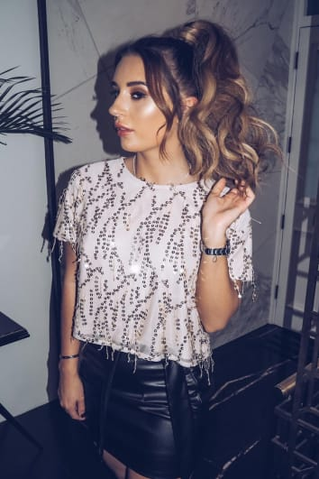 DANI DYER GOLD TASSEL SEQUIN CROPPED T SHIRT