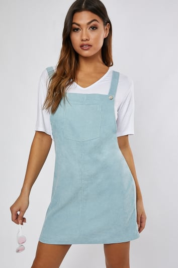 BECKY MINT CORD PINAFORE DRESS