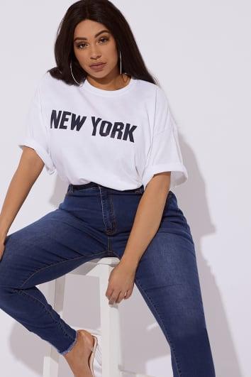 CURVE NOYA WHITE NEW YORK SLOGAN T SHIRT