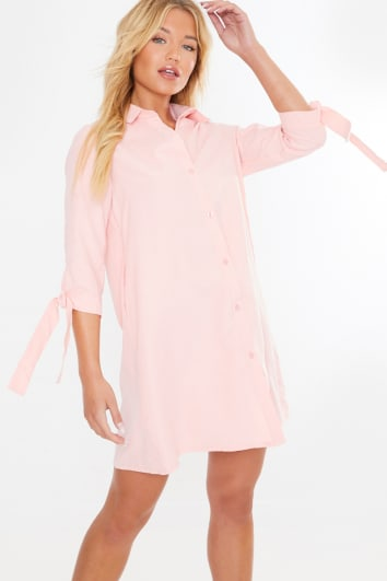 NORA BLUSH PINK TIE SLEEVE SHIRT DRESS