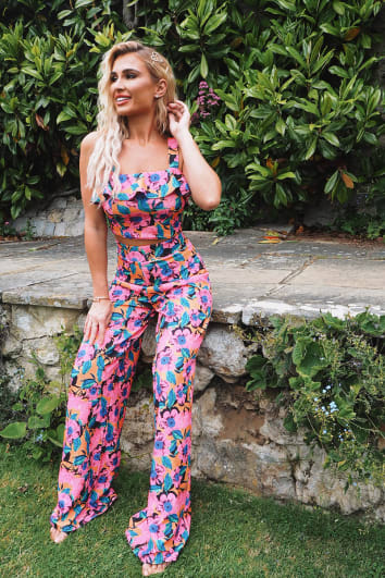 BILLIE FAIERS PINK FLORAL WIDE LEG TROUSERS