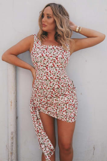 CHARLOTTE CROSBY RED FLORAL PRINT SQUARE NECK EXTREME TIE HEM DRESS