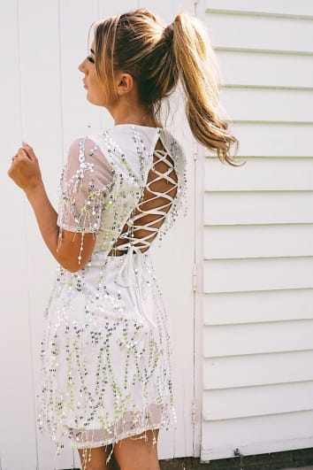 DANI DYER SILVER SEQUIN LACE UP BACK DRESS
