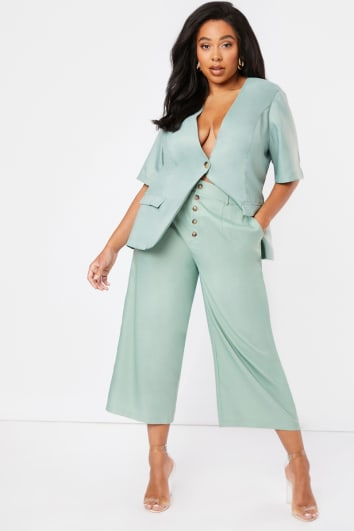 CURVE LAURA JADE GREEN CULOTTE TROUSERS