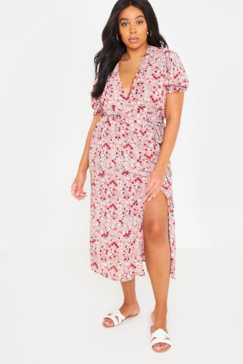 CURVE FASHION INFLUX BLUSH FLORAL PUFF SLEEVE TIE WAIST MIDI DRESS