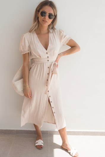 FASHION INFLUX CREAM PUFF SLEEVE TIE WAIST MIDI DRESS