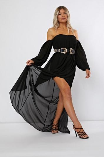 NABELAH BLACK BARDOT WESTERN BELTED SPLIT FRONT MAXI DRESS