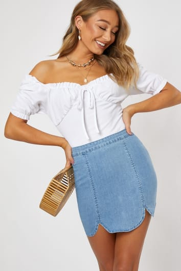 HUNLAH LIGHT BLUE SCALLOP HEM DENIM SKIRT
