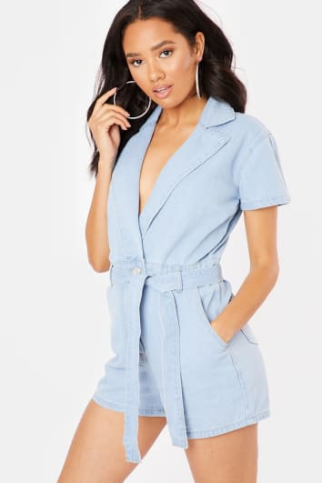 NICONA BLUE WASHED DENIM PLAYSUIT