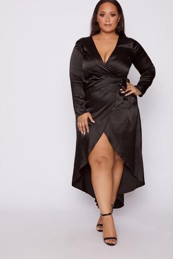 CURVE CARAH BLACK WRAP MAXI DRESS