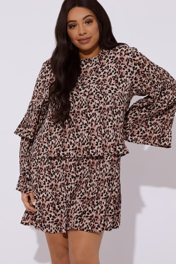 CURVE CRYSTEL LEOPARD PLEATED MINI DRESS