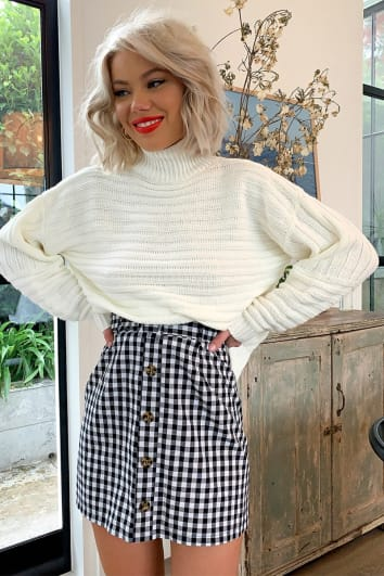LAURA JADE BLACK GINGHAM BUTTON DOWN SKIRT