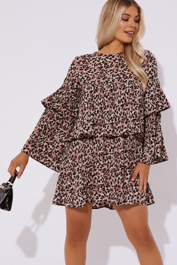 CRYSTEL LEOPARD PLEATED MINI DRESS