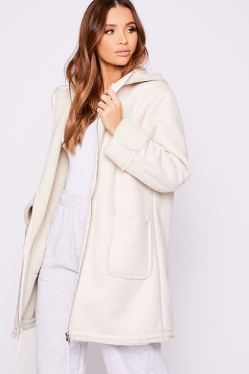 LUCE WHITE BORG FAUX SUEDE LONGLINE HOODED COAT