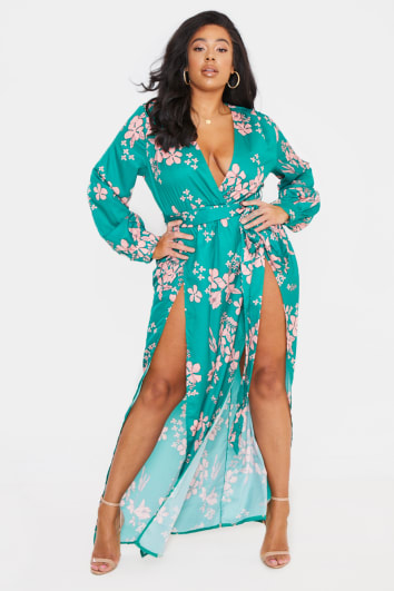 CURVE BILLIE FAIERS GREEN FLORAL THIGH SPLIT MAXI DRESS