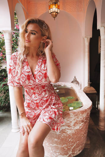 BILLIE FAIERS RED BAROQUE PRINT WRAP TEA DRESS