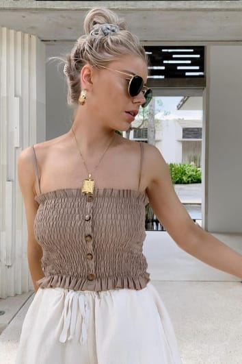 LAURA JADE STONE SHIRRED STRAPPY TOP