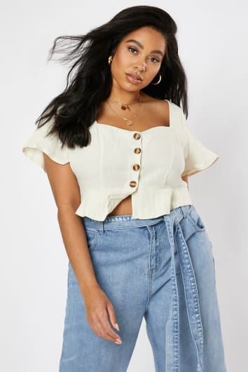 CURVE LAURA JADE CREAM FLUTE SLEEVE BUTTON DOWN TOP