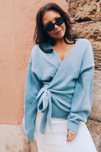 LORNA LUXE 'BUT FIRST' BLUE WRAP CARDIGAN