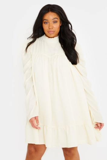 CURVE LORNA LUXE 'CORA PEARL' CREAM HIGH NECK SWING DRESS