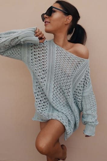 LORNA LUXE 'ME WITHOUT YOU' MINT GREEN CROCHET OVERSIZED JUMPER