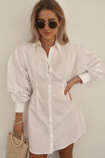 FASHION INFLUX WHITE BATWING BUTTON THROUGH SHIRT DRESS