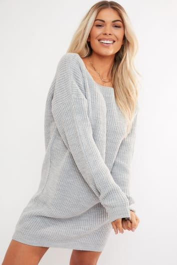 TABBY GREY V PLUNGE BACK JUMPER DRESS