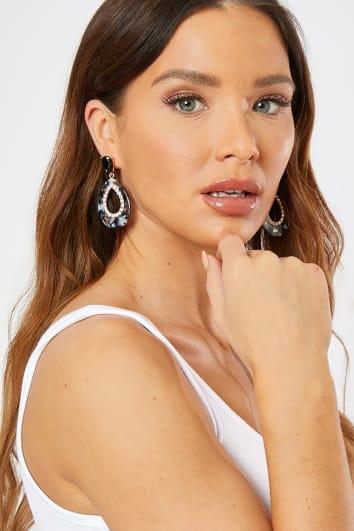 GREY DROP PATTERNED DIAMANTE EARRINGS